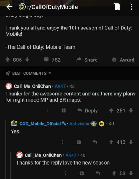 Call of Duty Mobile Night Mode