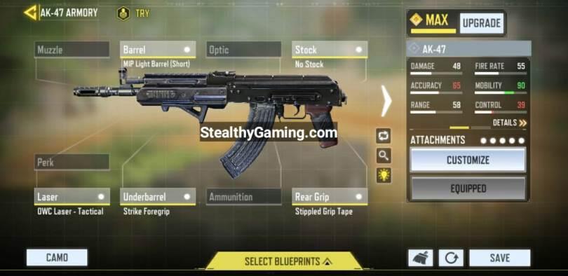 AK-47 Gunsmith Loadout COD Mobile
