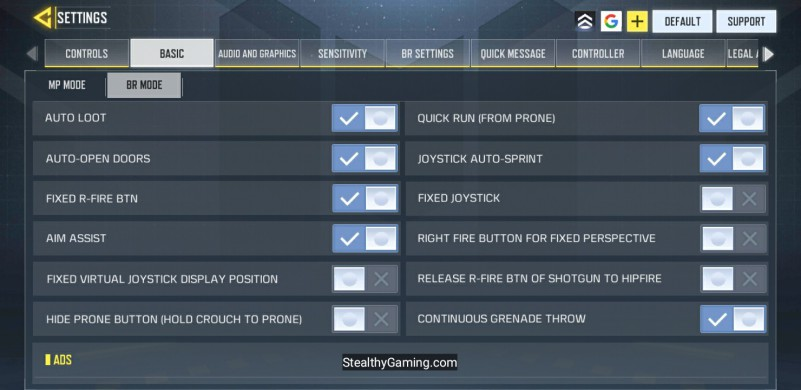 Prone button Settings cod mobile