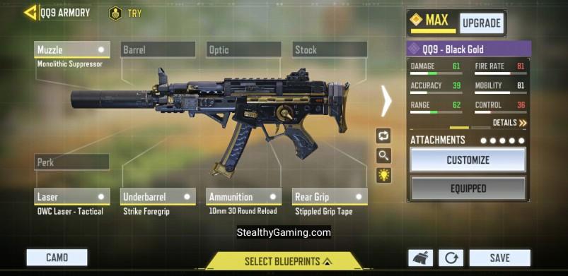 QQ9 Low Recoil Gunsmith Loadout COD Mobile