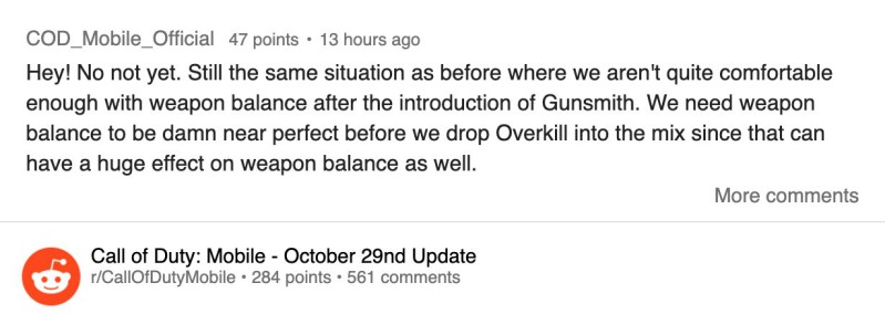 Overkill perk delayed till balance