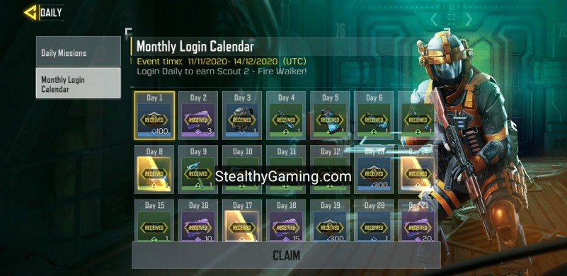 cod mobile monthly login calendar