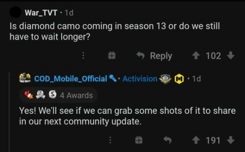 CONFIRMATION FOR DIAMOND CAMO COD MOBILE SEAOSN 13