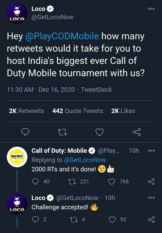 Loco COD Mobile Tournament Tweet