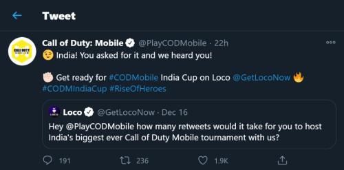 loco cod mobile india cup tournament