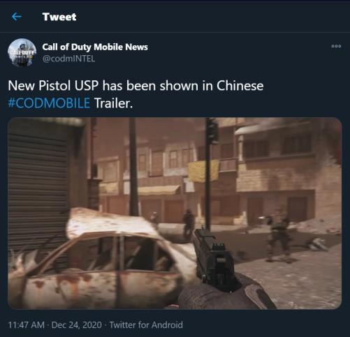 usp pistol new weapon cod mobile