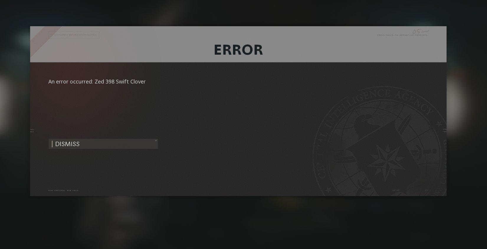 Black Ops Cold War 'ZED 398 Swift Clover' Error