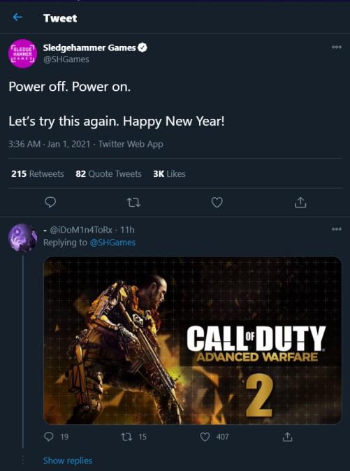 sledgehammer games tweet cod 2021