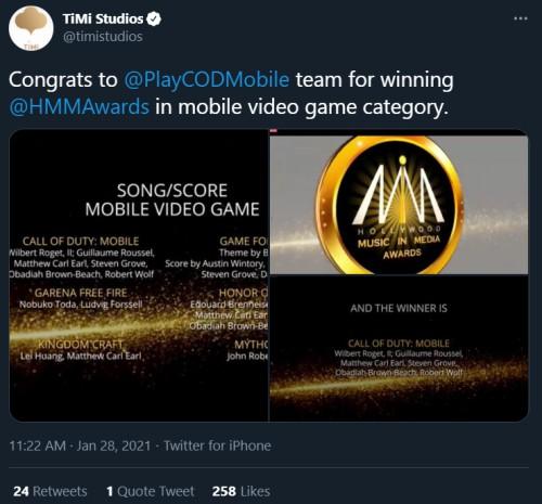 Hollywood music wards cod mobile season 6