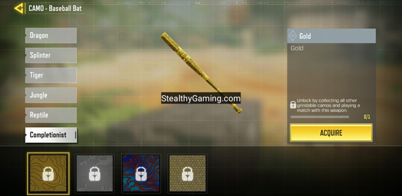 cod mobile gold camo sbaseball bat